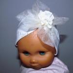 dziecko-opaska 145-biala ecru koronkowa z tiulem kwiatem perelka koronka-01
