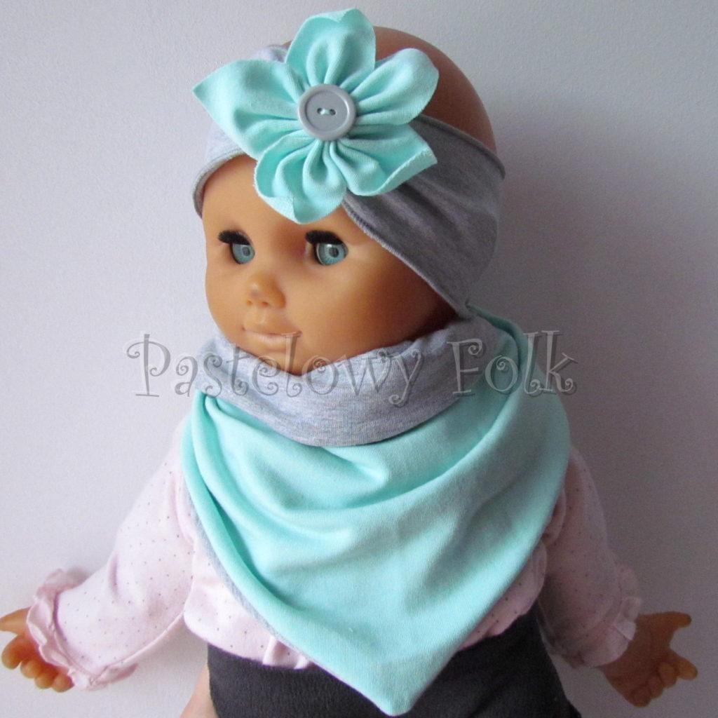 dziecko-opaska-151-szara-z-mietowym-kwiatkiem-pastelowa-chustka-dwustronna-01