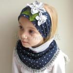 dziecko-opaska 17- dla dziewczynki granatowa retro w białe kropki kropeczki groszki kwiat kwiatki szare, perełki listki-06
