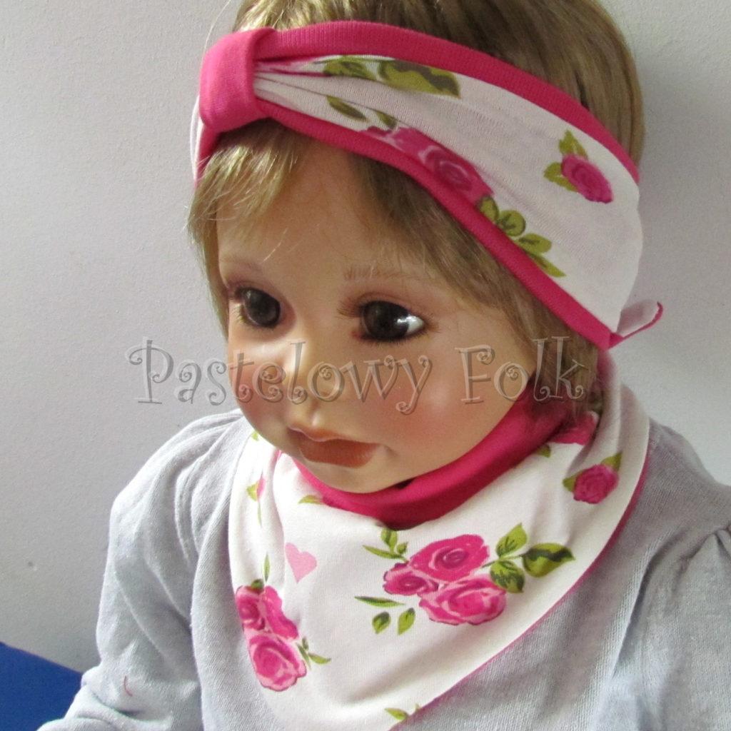 dziecko-opaska-189-biala-w-rozowe-roze-i-zielone-listki-fuksja-ciemnorozowaz-przewiazka-komplet-chustka-03