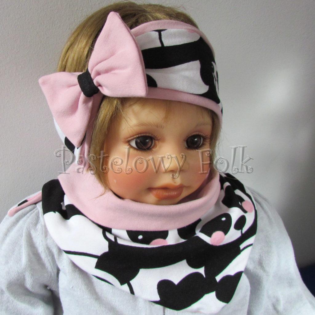 dziecko-opaska-196-biale-czarne-pandy-z-rozowymi-policzkamirozowa-duza-kokarda-komplet-chustka-komin-03