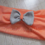 dziecko-opaska 20- dla dziewczynki łosowiowa pomarańczowa z szara retro kokardka -01
