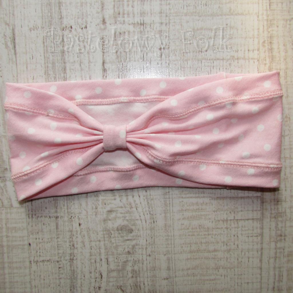 dziecko-opaska 23- dla dziewczynki różowa w białe kropki groszki dzianinowa-01