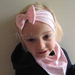 dziecko-opaska 24- dla dziewczynki różowa w białe kropki groszki dzianinowa kokarda -05