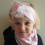 dziecko-opaska 25- dla dziewczynki różowa w białe kropki groszki dzianinowa kwiatek ażurowy -04