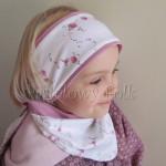 dziecko-opaska 26- dla dziewczynki chustka biała w różyczki, wrzowosy pasek, wiosenna letnia, dzianinowa -07