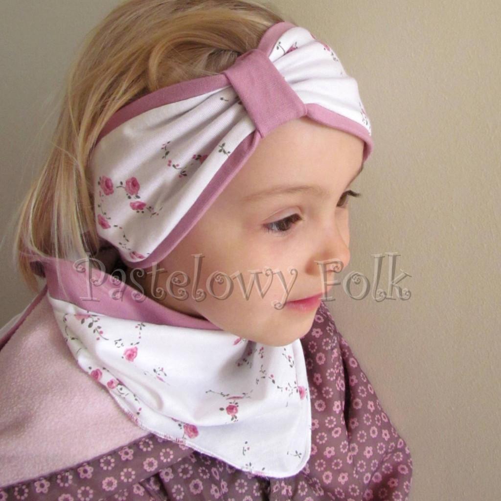 dziecko-opaska  26- dla dziewczynki chustka biała w różyczki, wrzowosy pasek, wiosenna letnia, dzianinowa -08
