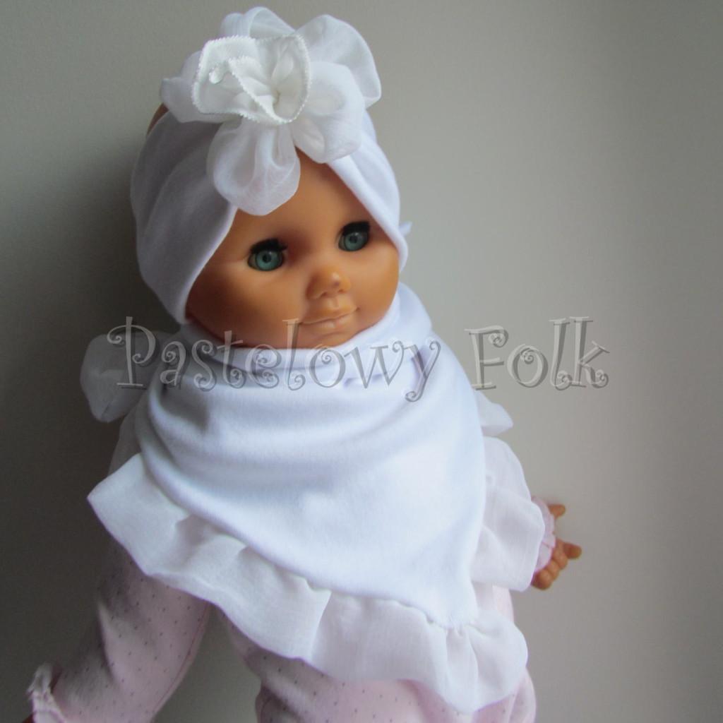 dziecko-opaska 31-  biała ecru  do chrztu, roczek, chrzest kwiat retro -01