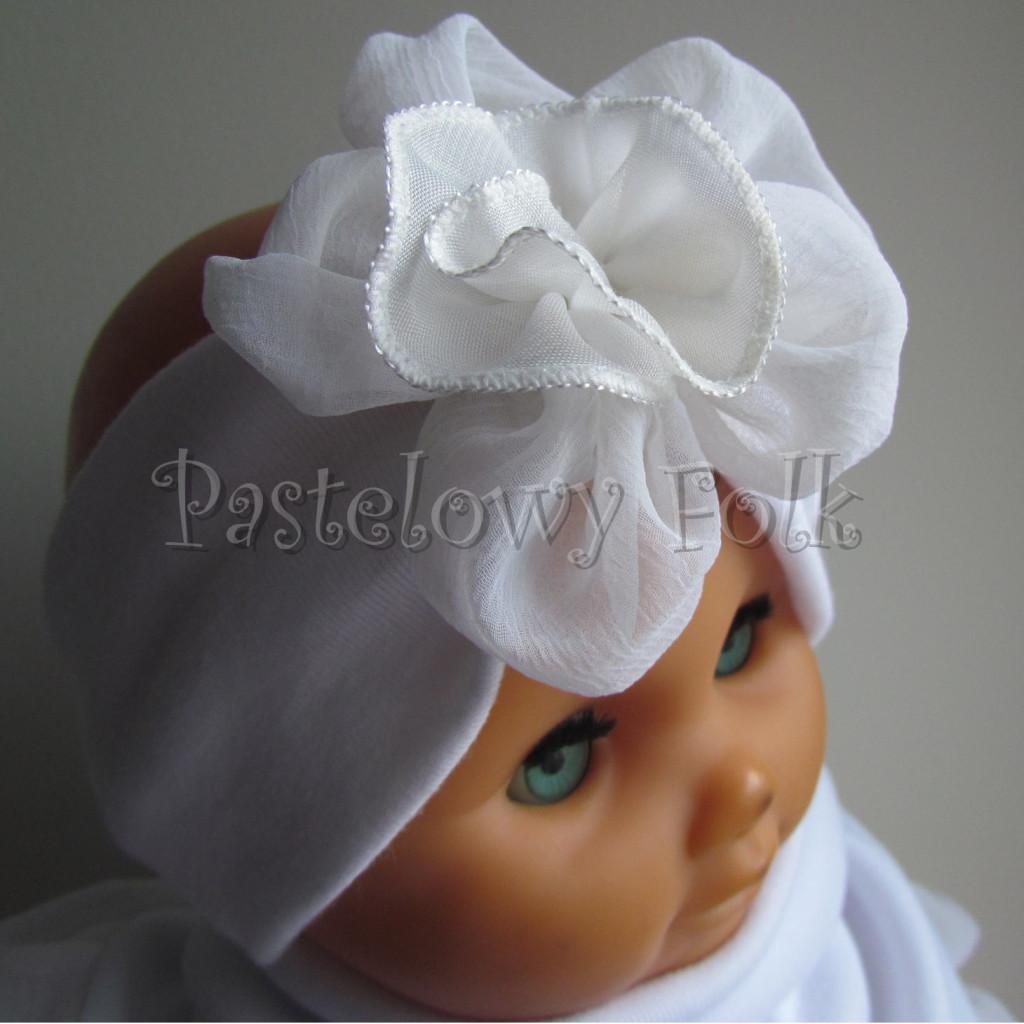 dziecko-opaska 31-  biała ecru  do chrztu, roczek, chrzest kwiat retro -03