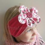 dziecko-opaska 35- rozowa malinowa wiosenna duzy kwiat retro w roze rozyczki-04