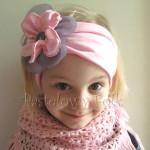 dziecko-opaska 38- rozowa wiosenna łososiowa kwiat retro szary guzik-06