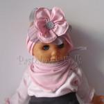 dziecko-opaska 38- rozowa wiosenna łososiowa kwiat retro szary guzik-14