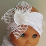 dziecko-opaska 39 - biała ecru do chrztu, roczek, chrzest kwiat retro -05