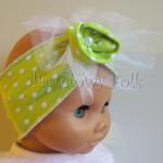 dziecko-opaska 42 - jaskrawa zielona limonkowa w białe kropki z kwiatem woal siateczka retro -07