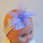 dziecko-opaska 46- fioletowa cienka z delikatnym retro kwiatem -01