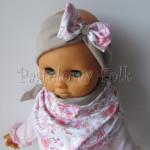 dziecko-opaska 52B- bezowa z biała kokarda z tureckim wzorem rozowym,komplet chusteczka -01