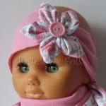 dziecko-opaska 55- rozowa z białym kwiatkiem w turecki wzor rozowy,truskawkowa, koralowy roz, komplet chusteczka -04