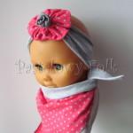 dziecko-opaska 57- szara z toczkiem kwiatkiem różowym w kropki, chusteczka komplet -03