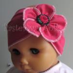 dziecko-opaska 58- różowa malinowa z kwiatkiem i tybetowym guzikiem -01