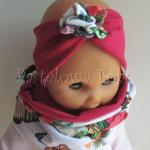 dziecko-opaska 59- ciemnorozowa karminowa z kwiatkiem kolorowym, komplet komin czapka-03
