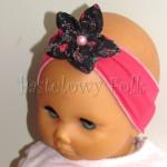dziecko-opaska 60- ciemnorozowa malinowa z czarnym goralskim kwiatkiem -02