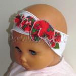 dziecko-opaska 61- biała z czerwonymi goralskimi kwiatkami -03