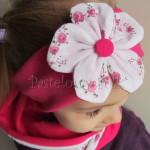 dziecko-opaska 62d- różowa fuksja amarant dwuwarstwowa z kwiatkiem w biale w rozyczki -03