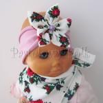 dziecko-opaska 70- wrzosowa rozowa z duzym goralskim bialym kwiatem w rozyczki, perelka-02