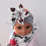 dziecko-opaska 71- szara z duzym goralskim bialym kwiatem w rozyczki-03