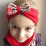 dziecko-opaska 74b- komin komplet, czerwona dwuwarstwowa z kokarda bezowa w roze -02