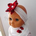 dziecko-opaska 75- ecru kremowa z goralskim czerwonym kwiatem w rozyczki-01