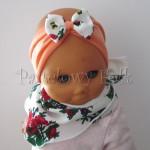 dziecko-opaska 76- łosowiowa pomarańczowa z goralska biala kokardka w rozyczki-01