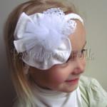 dziecko-opaska 77- warkocz retro biala, ecru, kremowa z duzym kwiatem, koronka, tiul-04