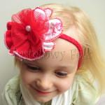 dziecko-opaska 77D- warkocz retro, czerwona, z duzym kwiatem, tiul, perelka-03