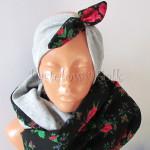 dziecko-opaska 84b- szara z czarna rozowa goralska kokarda w rozyczki,tybet-01