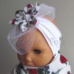 dziecko-opaska 86- biała z goralskim kwiatkiem w rozyczki,tybet,woal, siateczka,tiul,chrzest-01