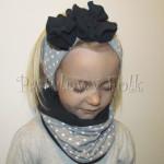 dziecko-opaska 89- komin czapka komplet, szara w biale kropki groszki z granatowym kwiatem retro -01