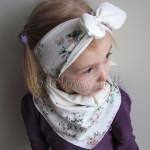 dziecko-opaska 98- dla dziewczynki pastelowa ecru w mietowe brazowe rozyczki z retro kokarda pin up, komplet komin chustka -01