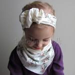 dziecko-opaska 99- dla dziewczynki pastelowa ecru w mietowe brazowe rozyczki z kwiatkiem ozdoba marszczona, komplet komin chustka -01