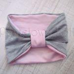 dziecko-opaska chustka komin dla dziewczynki 16-retro pastelowa szara różowa dzianinowa wiosenna jesienna zimowa komplet-01 miniatura