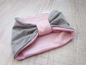 dziecko-opaska chustka komin dla dziewczynki 16-retro pastelowa szara różowa dzianinowa wiosenna jesienna zimowa komplet-02