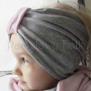 dziecko-opaska chustka komin dla dziewczynki 16-retro pastelowa szara różowa dzianinowa wiosenna jesienna zimowa komplet-03