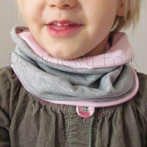 dziecko-opaska chustka komin dla dziewczynki 16-retro pastelowa szara różowa dzianinowa wiosenna jesienna zimowa komplet-05