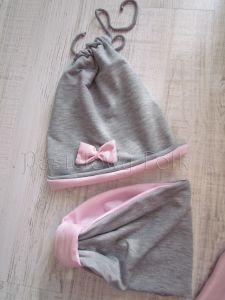 dziecko-opaska chustka komin dla dziewczynki 16-retro pastelowa szara różowa dzianinowa wiosenna jesienna zimowa komplet-07