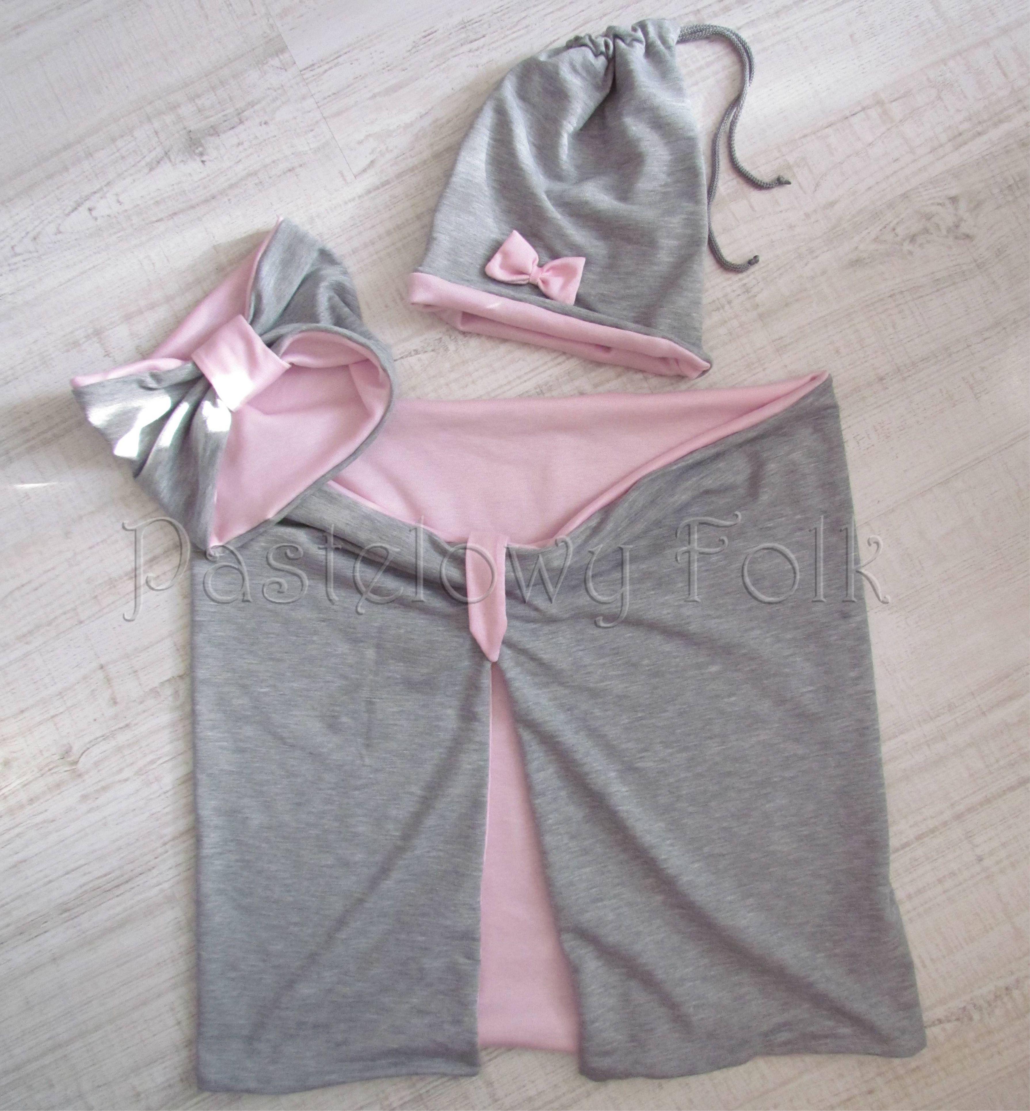 d3e82f9cfb3de8 ... dziecko-opaska chustka komin dla dziewczynki 16-retro pastelowa szara  różowa dzianinowa wiosenna jesienna