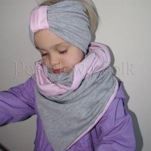 dziecko-opaska chustka komin dla dziewczynki 16-retro pastelowa szara różowa dzianinowa wiosenna jesienna zimowa komplet-11