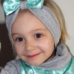 dziecko-opaska dla dziewczynki 19- szara retro kokardka miętowa w kropki kropeczki groszki-04