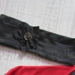 kobieta-opaska 01- dzianinowa, szara grafitowa, kwiat róża guzik retro 01