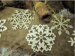 SWIETA choinka-zawieszka 05_ drewniana śnieżka bombka gwiazda brokat zimowa świąteczna biała perłowa _02 2