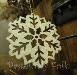 SWIETA choinka-zawieszka 05_ drewniana śnieżka bombka gwiazda brokat zimowa świąteczna biała perłowa _07 2